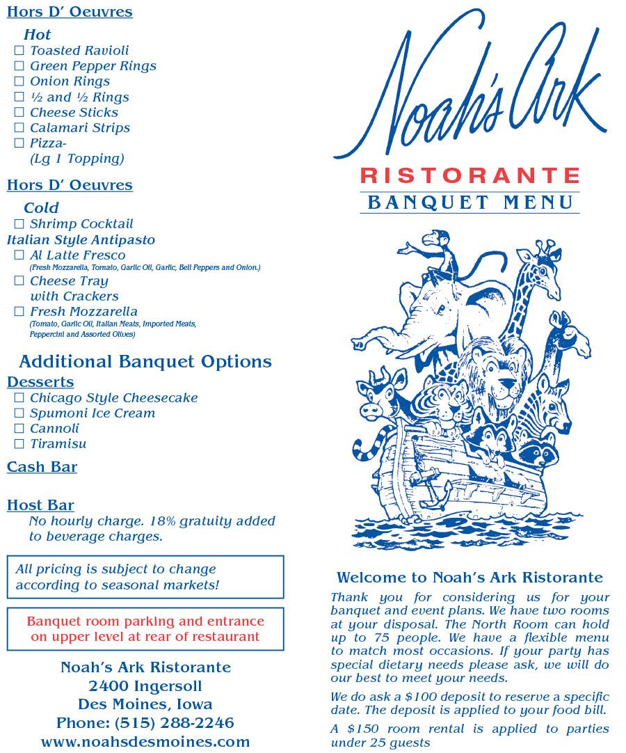 Banquet Menu of Noah's Ark Restaurant in Des Moines, Iowa