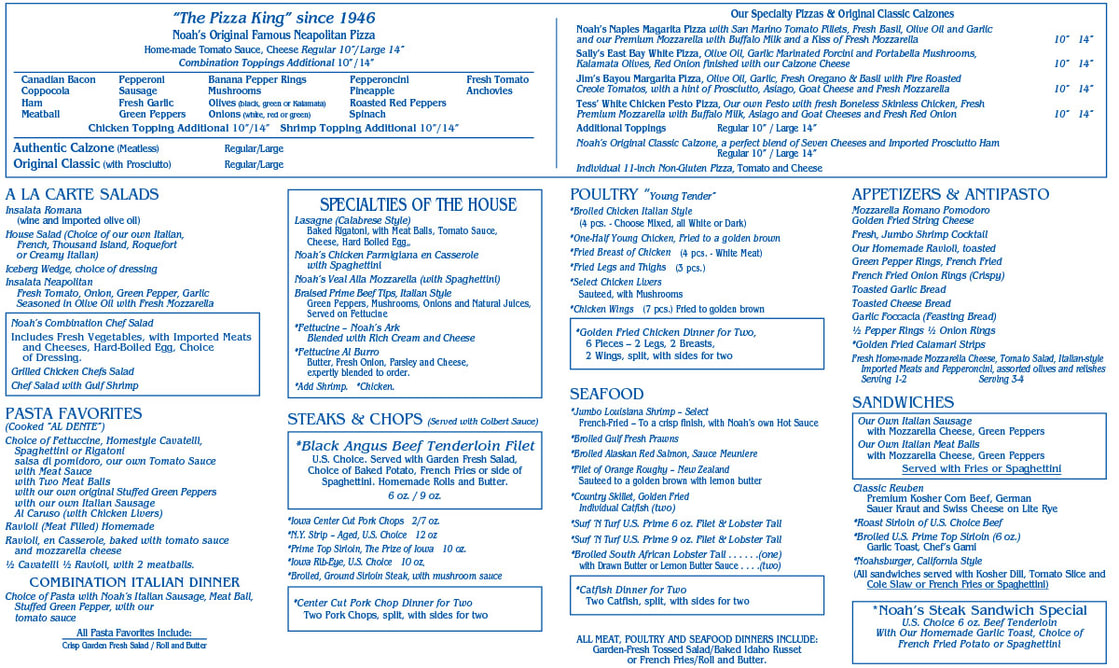 Take Out Menu of Noah's Ark Restaurant in Des Moines, Iowa